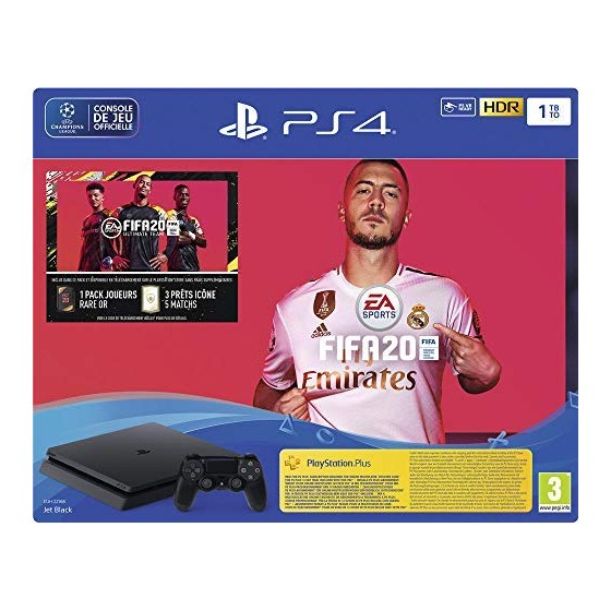 CONSOLE PS4 SLIM NOIRE 1TO + FIFA 20