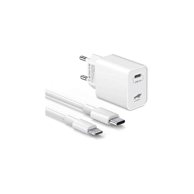 CHARGEUR SECTEUR 18W + CABLE IPHONE TYPE C / LIGHTNING