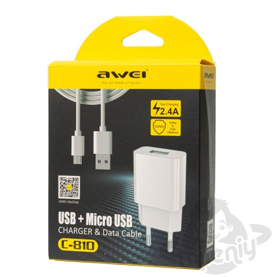 CHARGEUR SECTEUR AWEI 2.4A + CABLE MICRO USB blanc